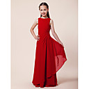 Floor-length Chiffon Junior Bridesmaid Dress - Ruby Sheath/Column / A-line Bateau
