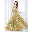 TS Couture Formal Evening / Military Ball Dress - Gold Plus Sizes / Petite Sheath/Column Strapless Floor-length Sequined