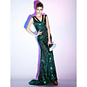 TS Couture Formal Evening / Military Ball Dress - Dark Green Plus Sizes / Petite Trumpet/Mermaid / Sheath/Column V-neck Sweep/Brush Train Sequined