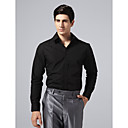 Custom Made Spread Collar Plain Fly Front Black Solid Shirt