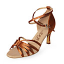 Non Customizable Women's Dance Shoes Latin/Ballroom Satin Stiletto Heel Brown