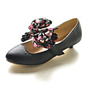 Leatherette Low Heel Closed Toe Shoes With Floral Bow (More Colors)