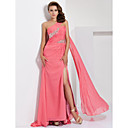 TS Couture Prom / Formal Evening Dress - Watermelon Plus Sizes / Petite A-line One Shoulder Sweep/Brush Train Chiffon