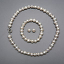 Elegant A Freshwater Pearl Jewelry Set, Including Necklace, Bracelet And Earrings