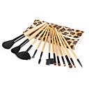 12 Pieces Artificial Fibre Makeup Brushes Set with Leather Case