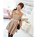 Women's Solid Beige Dress , Cute Peter Pan Collar Long Sleeve Pleated