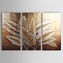 handbemalte abstrakte Ölgemälde mit Gold-und Silberfolie - 3-er Set