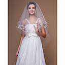 Wedding Veil One-tier Fingertip Veils Cut Edge 62.99 in (160cm) Tulle White