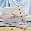 Starfish& shell praia do mar do livro de visitas e caneta casamento temático definido sinal em livro