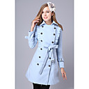 Women's Elegant Double Breast Self-belt Coat(Slim Cut)