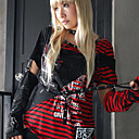 Cool Short Sleeve Stripe Cotton Punk Lolita T-shirt with Sleeves(2 Colors)