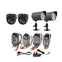 Day/Night Security Camera 4 Pack(2 Waterproof Outdoor Cameras & 2 Indoor Cameras)