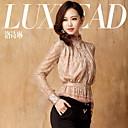 LUXLEAD Verzameld Lace met lange mouwen blouse shirt