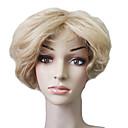 Capless 100% Human Hair Blond Kort bølgete hår Wig