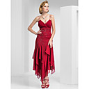 Homecoming Formal Evening/Military Ball Dress - Burgundy Sheath/Column Spaghetti Straps Tea-length Chiffon