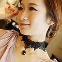 Women's Gothic Royal All Black Lace Necklace with Black Bijou Pendant