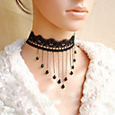 Women's Gothic Black Lace Little Bijou Necklace with Tassel