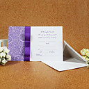 Elegant Style Wedding Invitation With Purple Ribbon (Set of 50)