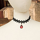BLace Lace Necklace Choker with Red Teardrop Pendant