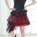 Short Cotton Black and Red Gothic Lolita Skirt (Waist: 66-80)
