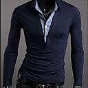 Homens colarinho da camisa de algodão T-shirt manga comprida