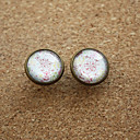Women's Vintage Little Flowers White Round Copper Studs