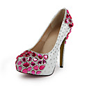 Fashion Patent Leather Stiletto Heel Round tå med Fuchsia Rhinestone Party / aften sko