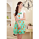 Women's Polka Dot Green/Orange Dress , Casual Asymmetrical Short Sleeve Pleated/Layered