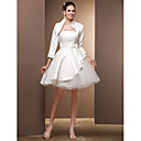 Lan Ting Ball Gown Plus Sizes Wedding Dress - Ivory Knee-length Strapless Satin/Tulle
