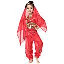 Dancewear Chiffon mit Münzen Bauchtanz Outfits Oben und Unten und Schal für Kinder mehr Farben