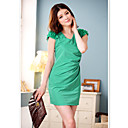 Women's Solid Dress , Casual/Party/Plus Sizes V Neck Short Sleeve Ruched