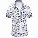 Men's Short Sleeve Shirt , Cotton Blend Casual Print
