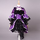 3/4-length Sleeve Short Purple og Black Satin Gothic Lolita Dress