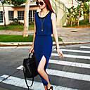 SZGood Blue Chiffon  Round Neck Dress