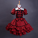 Kort Ermet knelang Wine Red Cotton Svart Trim Gothic Lolita Dress