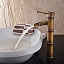 Art Deco/Retro Bolleservant Enkelt Håndtak Et Hull in Antikk Messing Bathroom sink tappekran