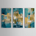 Oil Painting Abstract Blue Sky with Stretched Frame Set of 3 1308-AB0703 Hand-Painted Canvas