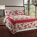 3-Piece 100% Cotton Red Printed Quilt Set