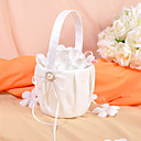 Flower Basket in Ivory Satin With Faux Pearl and Bow