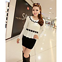Women's Color Block Dress , Casual Peter Pan Collar Long Sleeve Flower