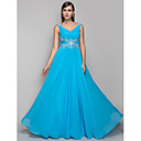 TS Couture Formal Evening / Prom / Military Ball Dress - Pool Plus Sizes / Petite Sheath/Column V-neck Floor-length Chiffon