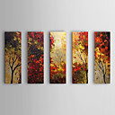 Hand Painted Oil Painting Botanical Red Leaves with Stretched Frame Set of 5 1309-FL0986