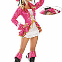 Charming Fuschia Coat White Lace Pirate Women's Costume