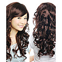 Capless Top Grade Synthetic Dark Brown Wavy Hair Wigs