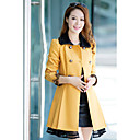 Women's Beige/Black/Blue/Pink/Yellow Trench Coat , Casual Long Sleeve Tweed