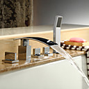 contemporaine robinet de baignoire cascade avec douche à main - fini chrome