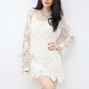 Women's Lace/Solid White T-shirt , Casual Lace