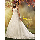 A-line / Princess Petite / Plus Sizes Wedding Dress - Ivory Court Train Sweetheart Tulle