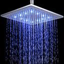 Soffione a pioggia, per doccia, 12 pollici, con LED, quadrato, in ottone cromato
