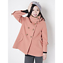 Women's Coat , Casual Long Sleeve Wool Blends